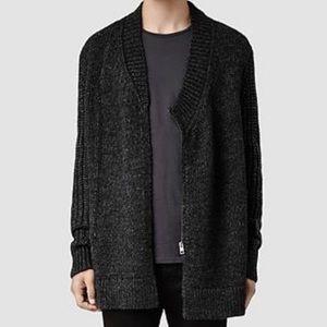 All Saints Anno Cardigan Gray Knit Sweater XL